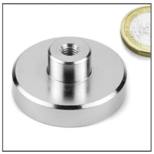 Female Threaded Shallow Pot Magnet Ø42 mm