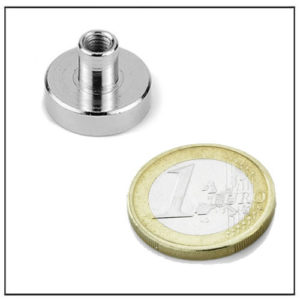 NdFeB Pot Magnet with Threaded Stem Ø22 mm