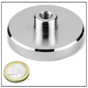 NdFeB Threaded Shallow Pot Magnet Ø60 mm