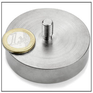 NdFeB Round Base Magnet with Threaded Stem Ø60 mm