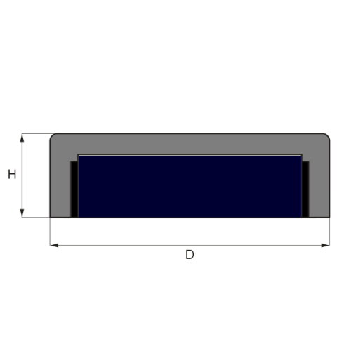 Flat Ferrite Pot Magnet Drawing