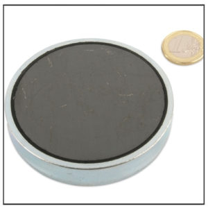 Flat Sintered Ferrite Pot Magnet Ø 80 x 18 mm