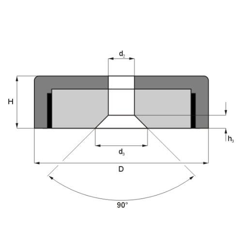 Countersunk Ferrite Pot Magnet Drawing