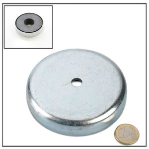 Cylindrical Borehole Ferrite Cup Magnet Ø 90 x 20 mm
