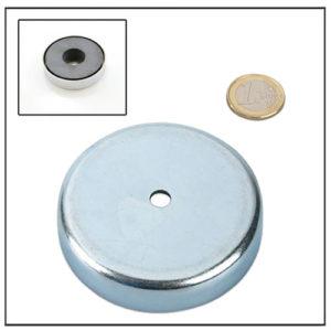 Cylindrical Borehole Round Base Ferrite Magnet