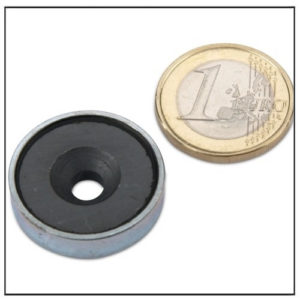 Ferrite Pot Magnets Countersunk Hole Ø 25 x 7 mm