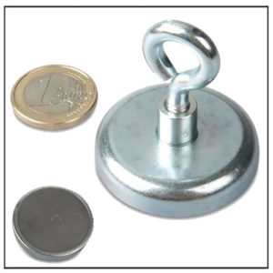 Hard Ceramic Pot Magnet with Eyebolt 42mm