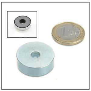 Hard Ferrite Pot Magnet with Through Hole 25mm
