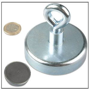 Hard Sintered Ceramic Pot Magnet with Eyelet