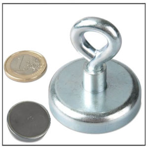 Strong Ferrite Cup Magnet with Eyelet 48mm