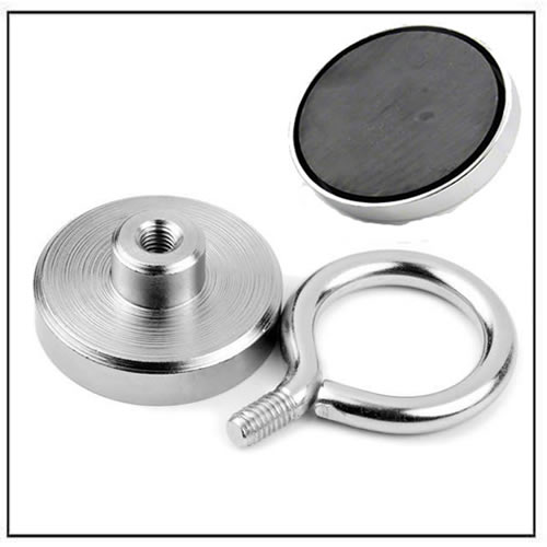 Strong Ferrite Pot Magnet with Eyelet