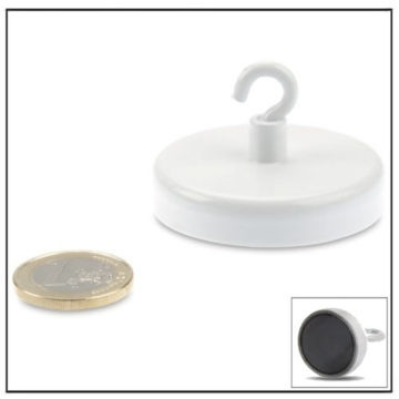 White Ferrite Pot Magnets with Hook Ø50mm