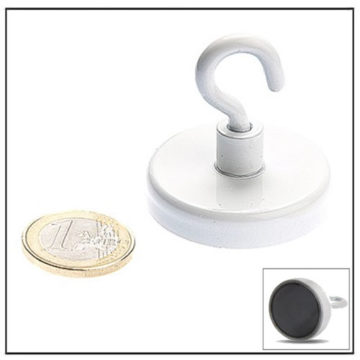 White Hard Ferrite Hook Magnets 40mm