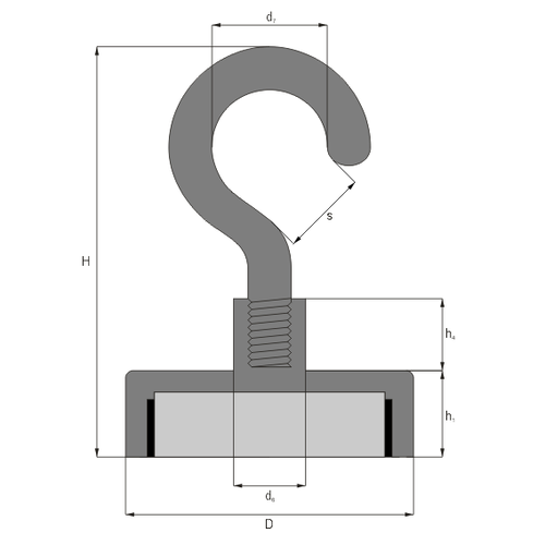 ferrite magnet with hook drawing