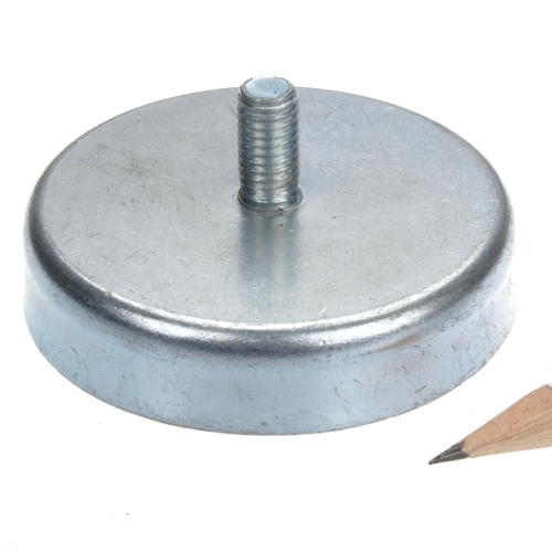 63mm Ceramic Pot Magnet with External Threaded Stem