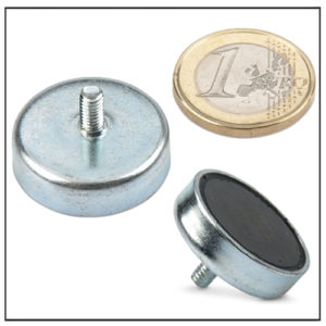 External Screw Thread Ferrite Pot Magnets Ø 25mm
