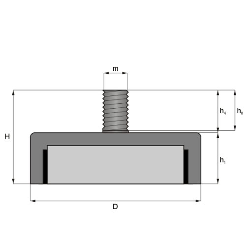 External Thread Ferrite Pot Magnets Drawing