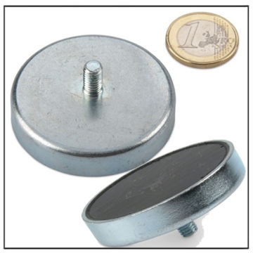 Ferrite External Threaded Stud Pot Magnet Ø 50mm
