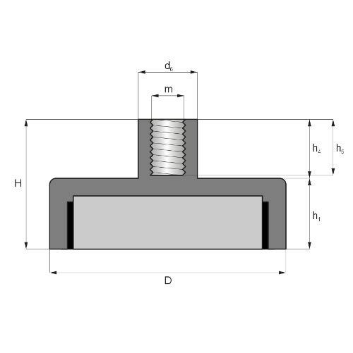 Ferrite Pot Magnets with Internal Threaded Bushing Drawing