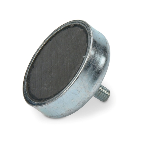 Hard Ferrite Pot Magnet with External Threaded Stud