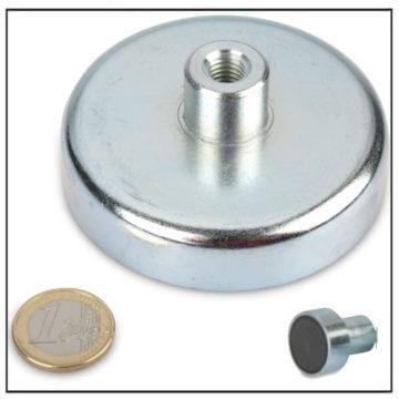 Large Threaded Bushing Ferrite Magnetic Pot Ø 80mm