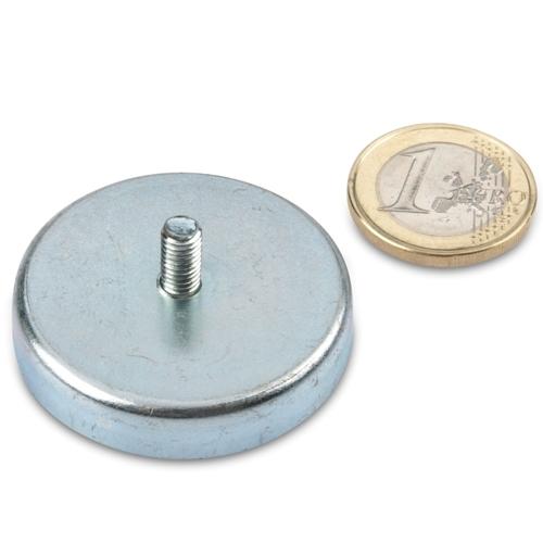 Male Thread Hard Ferrite Pot Magnet Ø 40mm x 8 mm