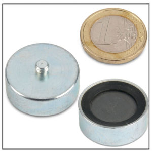 Rubber Threaded Pin Ferrite Pot Magnet Ø 25mm