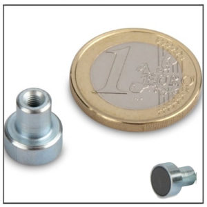 Small Ferrite Pot Magnets with Internal Threaded Bushing Ø 10mm