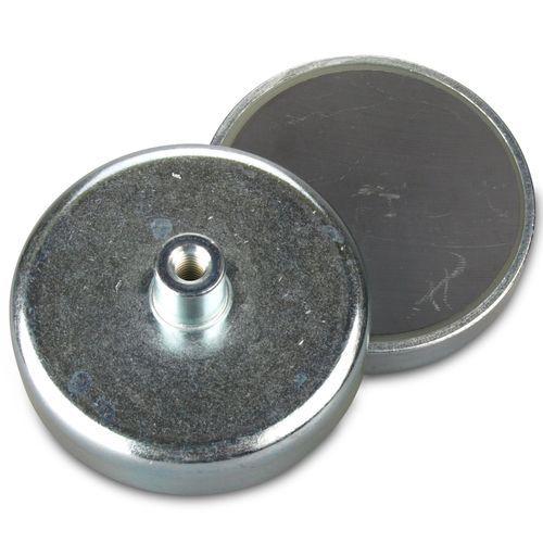 Threaded Bushing Ceramic Cup Magnet 80mm Dia