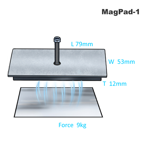 Magnetic Pad w Thread Stud MagPad-1 Specification Drawing