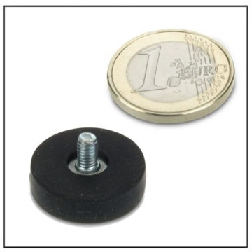 Rubber Coated Magnetic Pot with External Threaded Stem 22mm