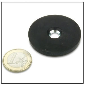 Rubber Coated Magnetic System with Countersunk Hole Ø 43mm