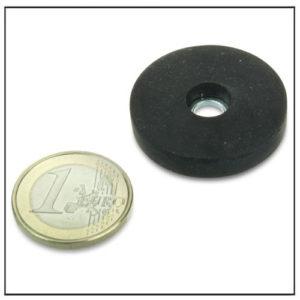 Rubber Coated Pot Magnet w Cylinder Bore Ø 31mm