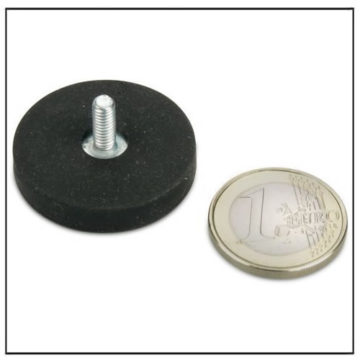 Rubber Covered Neodymium External Thread Magnet 31mm
