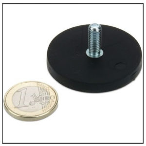 Rubber Covered Pot Magnet w External Thread Ø43mm