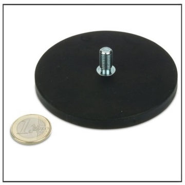 Rubber Covered Pot Magnet with Male Screw Thread Ø 88mm