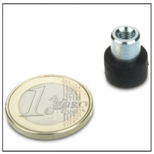 Rubber Covered Pot Magnet with Threaded Bushing Ø12mm