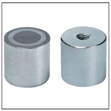 63mm Zinc Coated AlNiCo Pot Magnet with Internal Thread