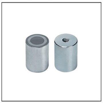 8mm Deep Pot Alnico Rod Magnet w Threaded Stem